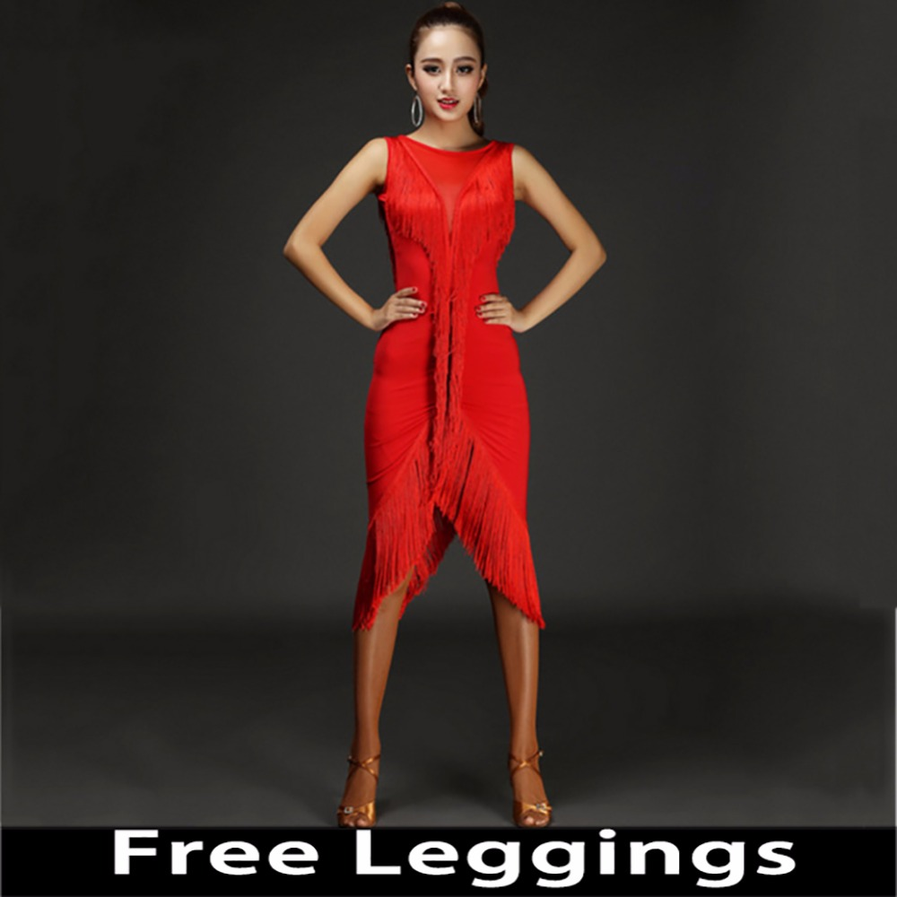 2018 Sexy Lady Latin Dance Dress Dames 4 kleuren Lady Dance printing kwastje Flamengo Salsa Samba Balzaal Competitie