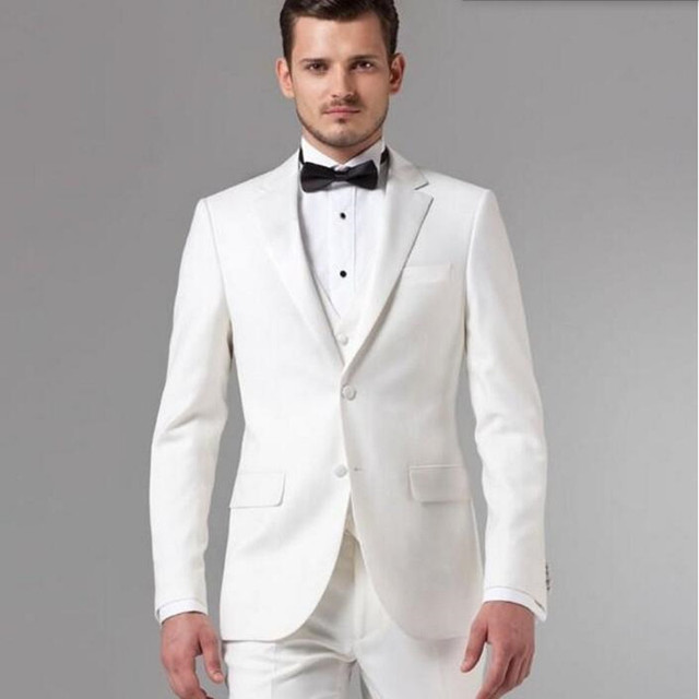 White Groom suits Tuxedos tailor made men Suit latest designs ...