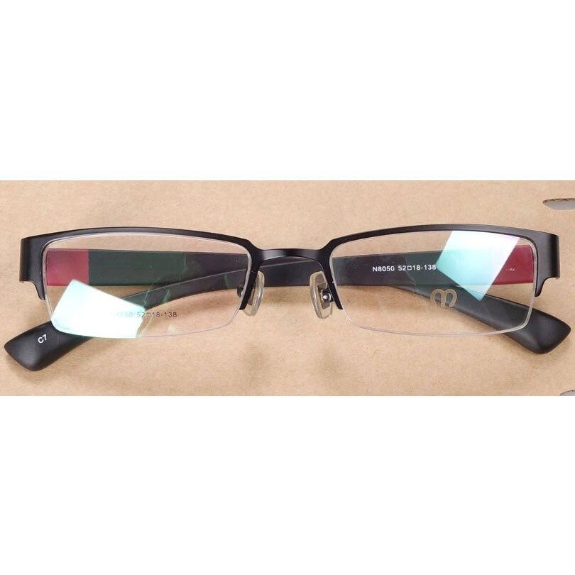 Half Rim Stainless Steel Prescription Glasses For Men, Rectangle Durable Metal