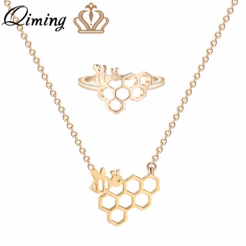 QIMING Beehive Lovely Jewelry Set Honeycomb Insect Bee Statement Necklace Women Girls Children Birthday Gift Cute Cheap Ring