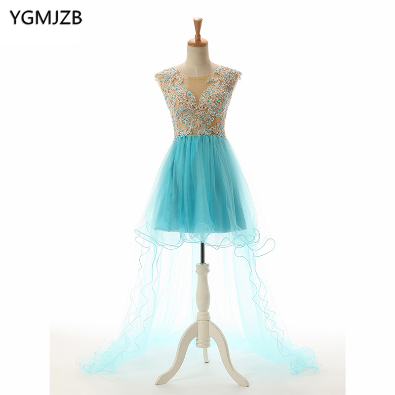 Sexy Short Dresses 2018 A Line Scoop Cap Sleeve High Low Mini Open Back Beaded Appliques Tulle Party Gown Blue Homecoming Dress