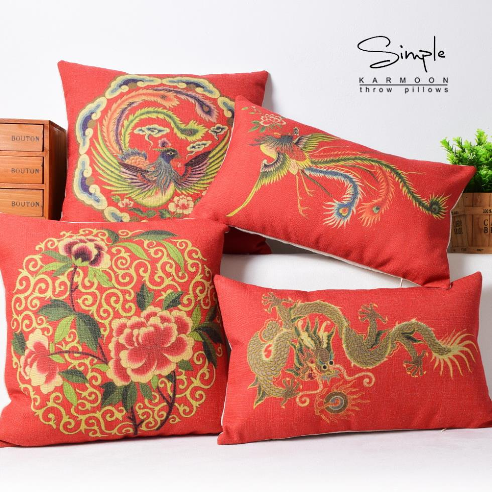 Red Chinese Cushion Cover Decorative Cushion Covers Phoenix Wedding Throw  Pillow Case Love Couch Cushion Cover