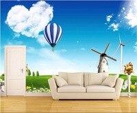 Custom Photo 3d Wallpaper Picture Blue Sky Grass Villa Windmill Room Decoration Painting 3d Wall Murals