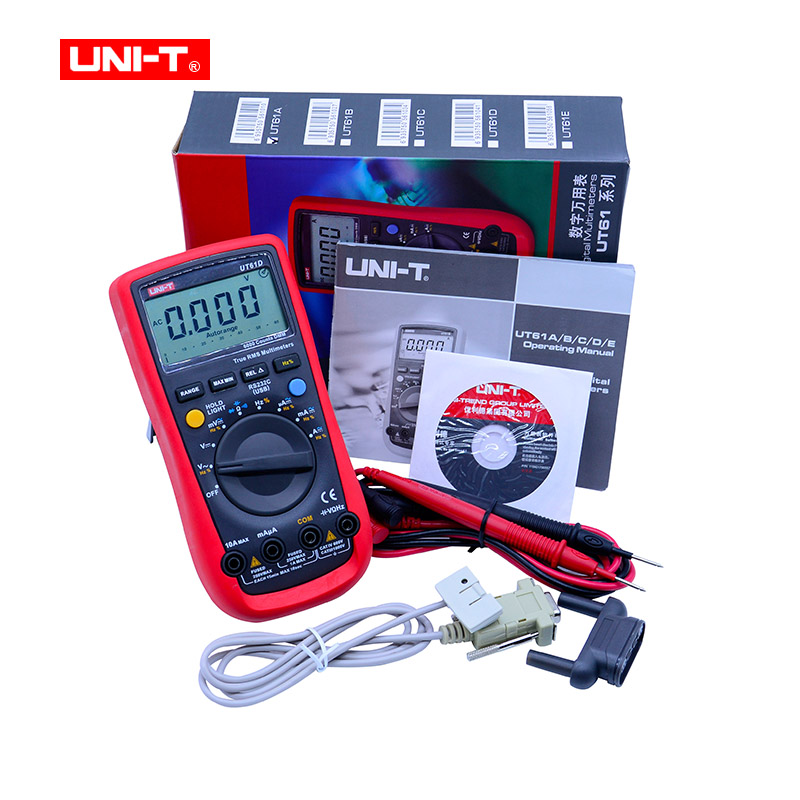Digital Multimeter UNI-T UT61D True RMS Auto Range 6000 Counts LCD backlight Digital Multimeters with RS-232C USB cable excel dt9205a 3 lcd digital multimeter black orange 1 x 6f22