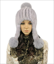 New winter female fur hats autumn women warm hat of natural mink fur and fox fur pompom H242