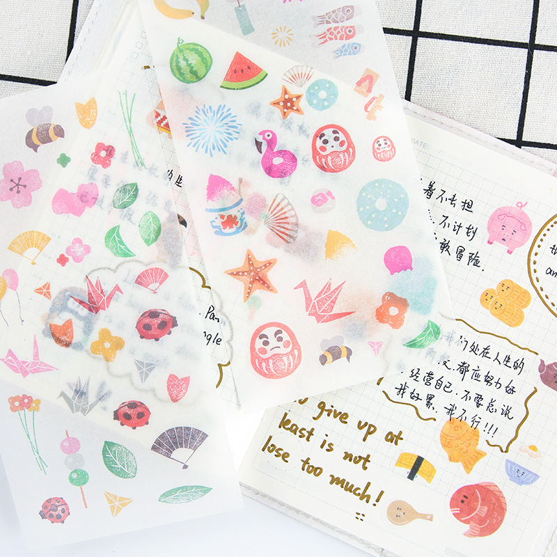 6 pcs/pack Japanese Series Stickers Set Decorative Stationery Stickers Scrapbooking DIY Diary Album Stick Label spring and fall leaves shape pvc environmental stickers decorative diy scrapbooking keyboard personal diary stationery stickers