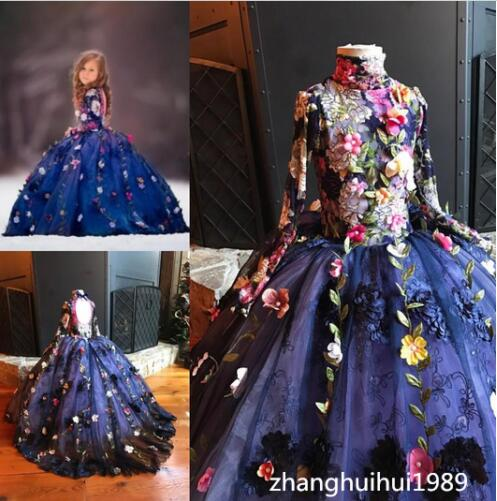 Custom Luxury Handmade Florals Princess Birthday Pageant Gown dress all over florals m slit dress