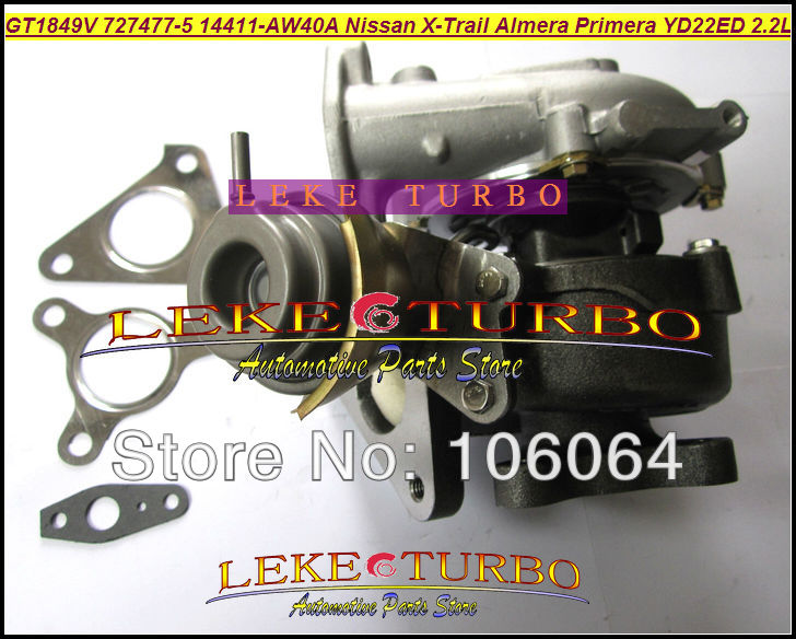 Free Ship Turbo GT1849V 727477-5006S 727477-5007S Turbocharger For NISSAN X-Trail T30 Almera Primera 2003-2005 YD22ED YD1 2.2L  цены
