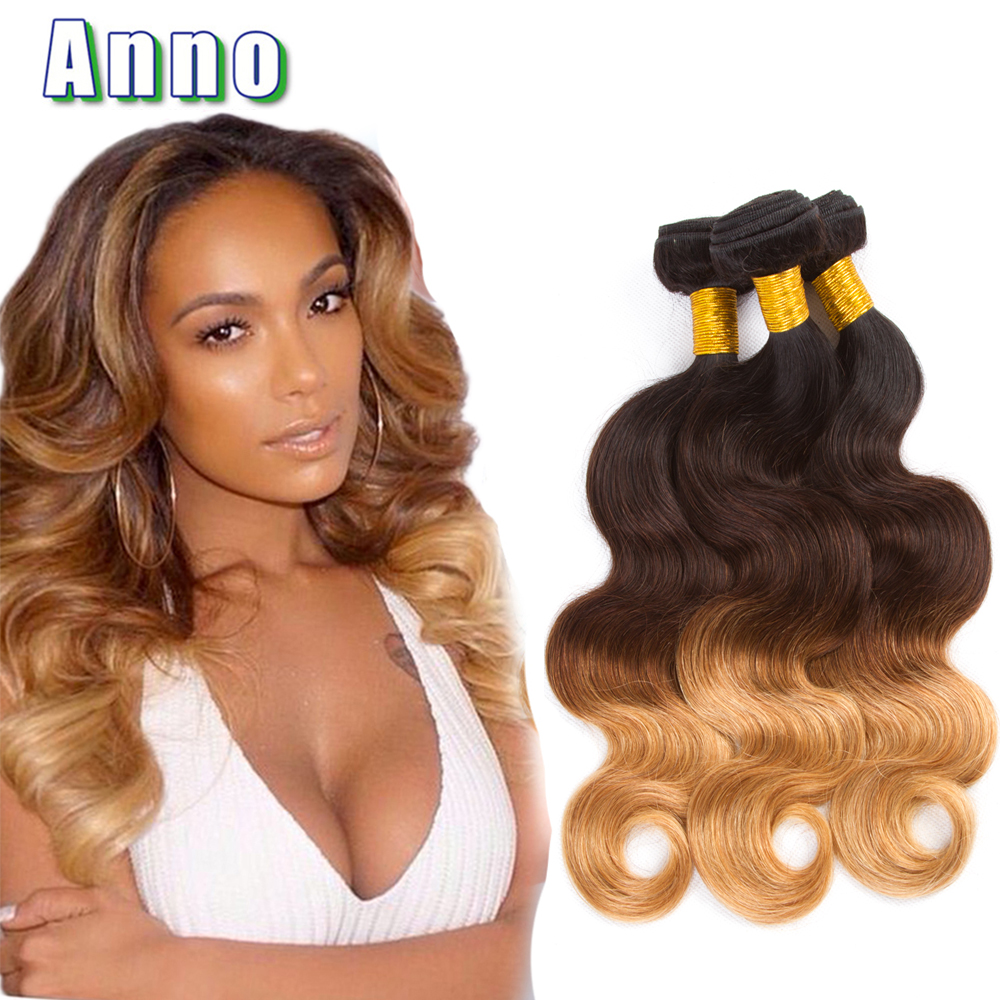 7A Ombre Brazilian Virgin Hair Body Wave 3 Bundles T1B/4/27 Weave Queen Love Extensions - Xuchang Anno Products Co.,Ltd store