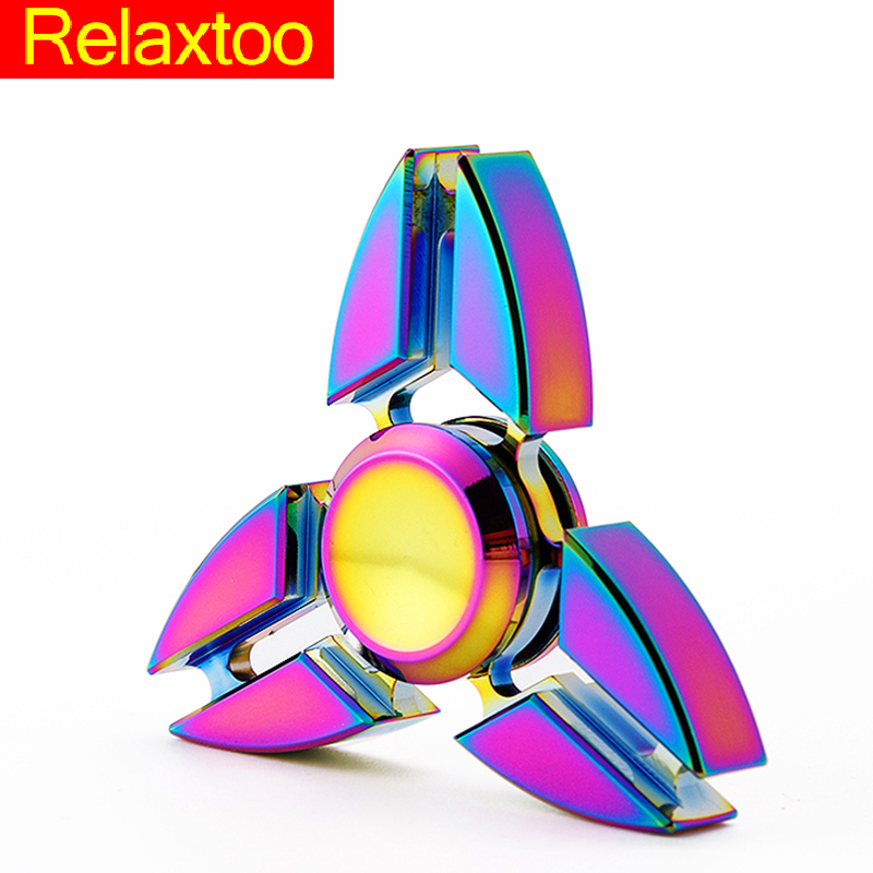 Metal Tri-Spinner EDC Fidget Toy Brass Hand Spinner For Autism and ADHD Anti Stress Finger Toys 2017 Funny Fast Gyro Handspinner fidget hand spinner brass metal edc finger spinner anti stress hand spinner for autism adhd toys gift spinning top