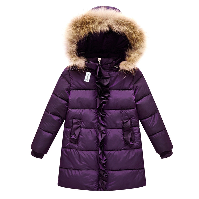 Brand New Children Cold Winter down Girls Thickening Warm Down Jackets Girl long Big Fur Hooded Outerwear Coats Kids Down Jacket 2017 new high quality big fur collar women long winter cotton padded coats female warm jacket large size parka outerwear qh0882
