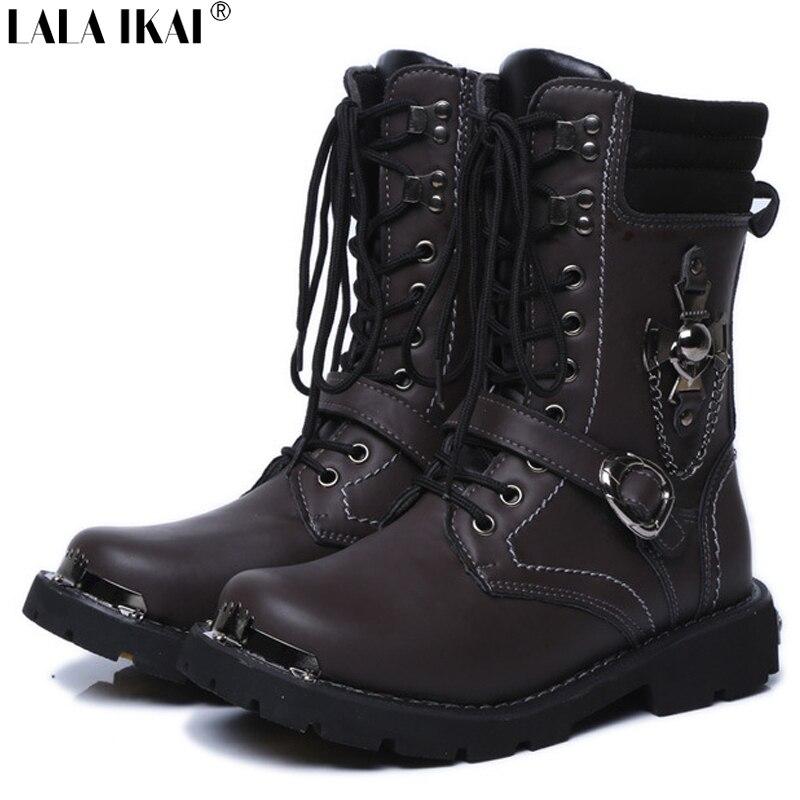 Aliexpress.com : Buy Men Motorcycle Boots Vintage Punk Combat ...