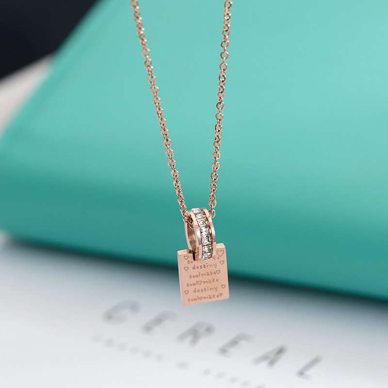 New alphabet necklace creative titanium steel rose gold clavicle Fashion Jewelry Crystal from Austrian beaded Woman Party