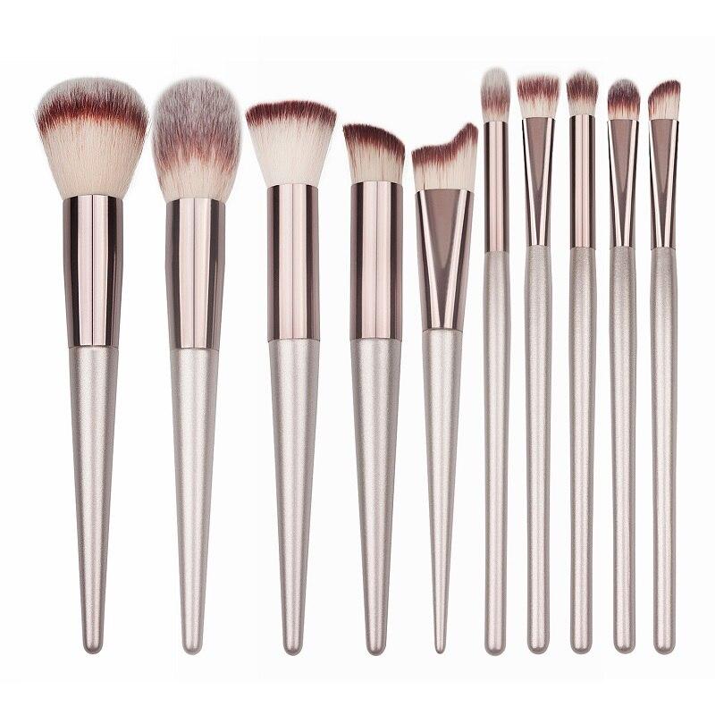 10 peças De Madeira Pincéis de Maquiagem Conjunto Fundação Blush Em Pó Sombra Concealer Lip Eye Make Up Brush Champagne Cosméticos Ferramenta de Beleza
