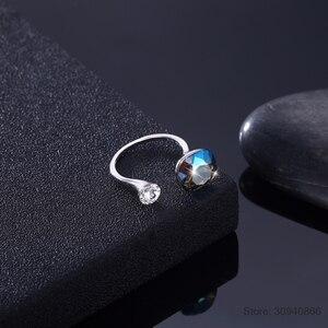 Image 5 - Lekani Kristallen Ringen 925 Individuele Diamanten Bezaaid Sterling Zilveren Ringen Vrouwen Multicolor Eenvoudige Ringen Gift