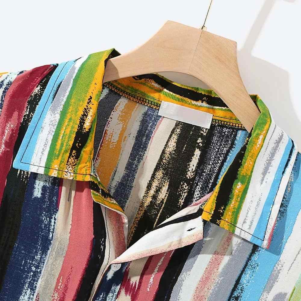 Feitong 2019 Mannen Strand Shirts Blouse Multicolor Lump Borst Pocket Harajuku Korte Mouw Ronde Losse Blouse Shirt Camisa Femenina