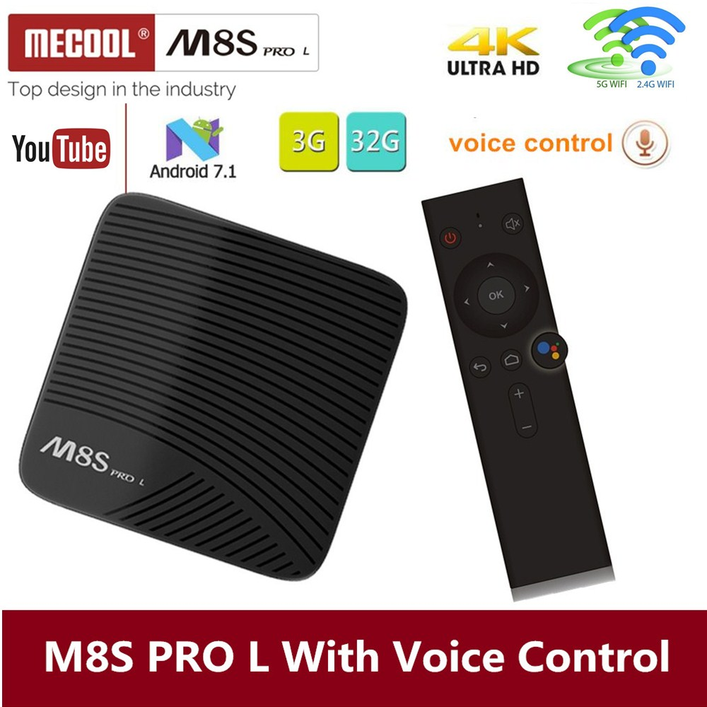 Mecool M8S PRO L 4K TV Box Android 7.1 Smart TV Box 3GB 16GB Amlogic S912 Cortex - A53 CPU Bluetooth 4.1 + HS With Voice Control oringal mecool 3gb ram 16gb rom smart android tv box amlogic s912 64 bit octa core arm cortex a53 4k wifi bt4 0 wifi tv box
