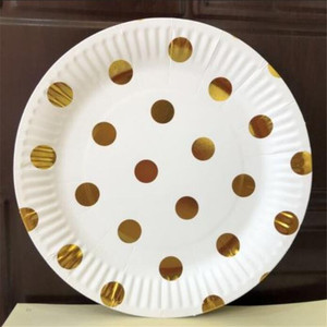 Image 2 - 10 pz/lotto Oro Argento Strisce e Dot Bicchieri di Carta Piatti Da Sposa Festa di Compleanno Forniture