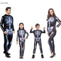 S M Men Halloween Skeleton Costumes Hell Devil Demon Scary Cosplays Carnival Purim parade Masquerade Nightclub bar party dress