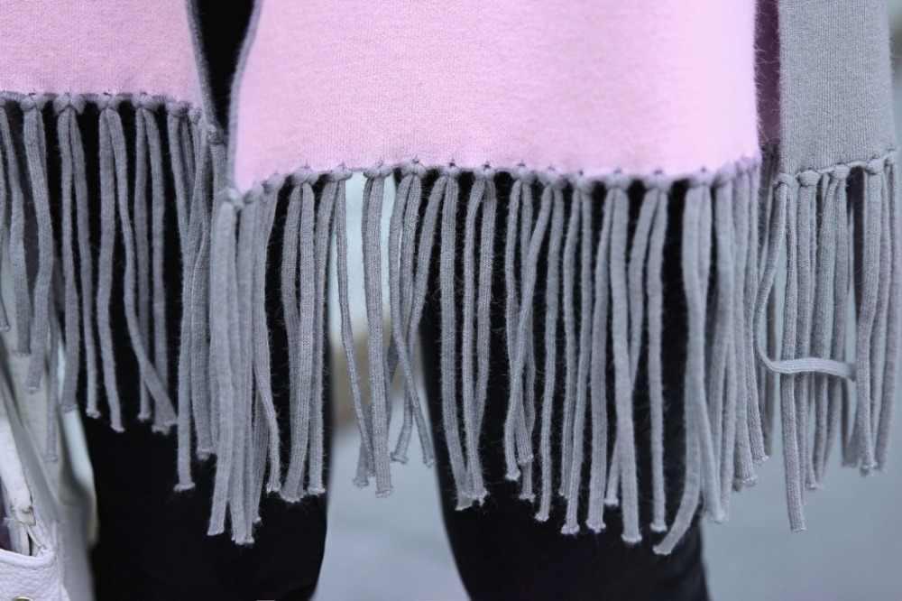 Delle donne del Cachemire Cardigan In Maglia Cappotto Del Maglione di Inverno Double Side Wear Nappa Pieno Casual delle Donne di Grandi Dimensioni Maglie e Maglioni Scialle Poncho