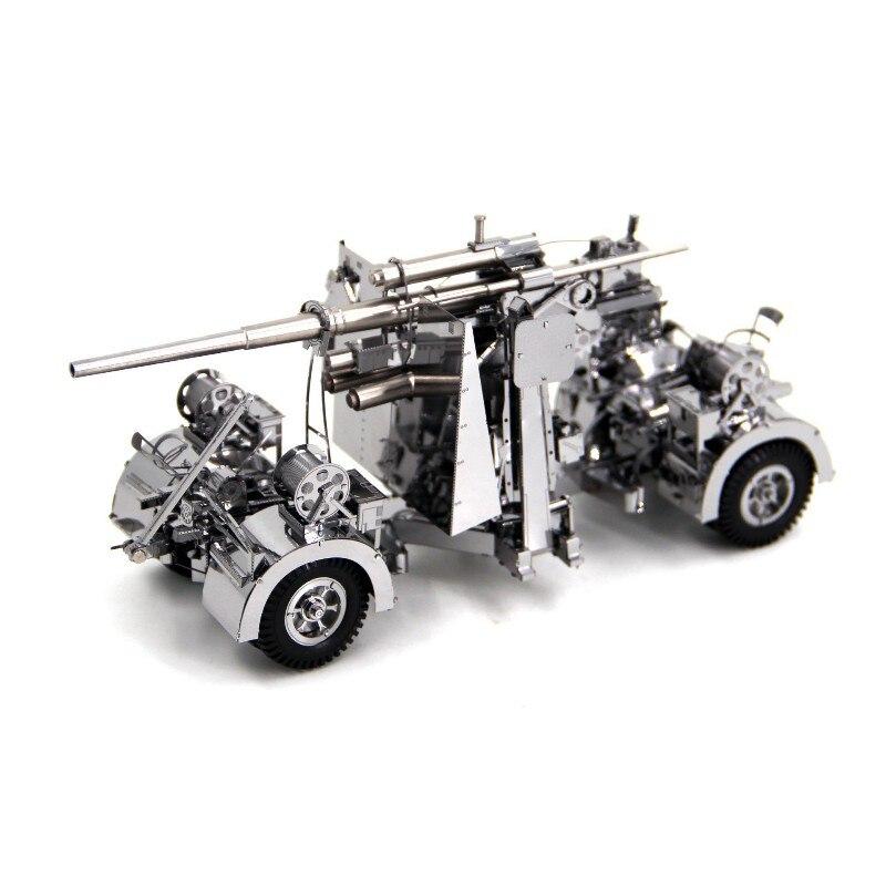 Morceau 3D métal Puzzle allemand 88 défense aérienne anti-char modèle d'artillerie bricolage découpe Laser assembler Puzzle jouet cadeau pour adultes