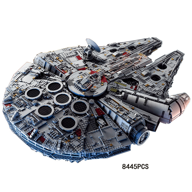 Star battle plan Ultimate collector Millennium hawk building block space war BB-8 robot Chewbacca figure warship brick 75192 toy