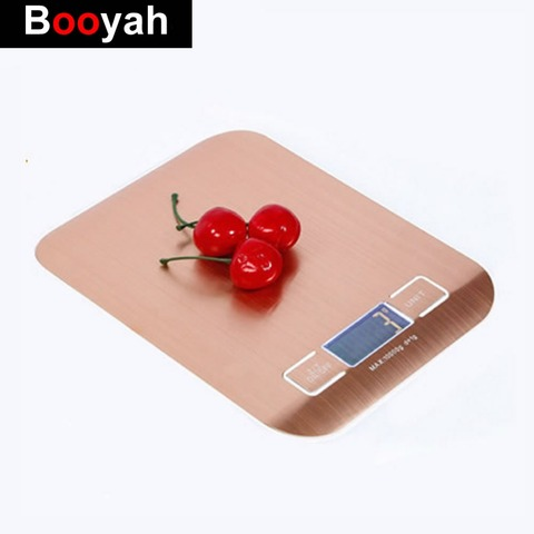 Booyah New Listing 10KG/1g Stainless Steel Portable Digital Kitchen Scales High Precision Rose gold Electronic Weighing Scales Pakistan