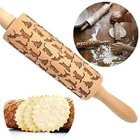 2017 New 34cm Wooden Rolling Pin Cats Pattern Embossing Rolling Pin Engraved DIY Bakeware Embossing Kitchen