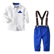 Toddler Boys Formal Clothing Sets White Shirt + Blue Pants Suits 2 3 4 5 6 7 Years Cardigan Button Boy Gentleman Leisure Suit(China)