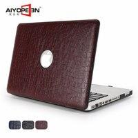 Macbook air 13 için halinde timsah derisi deseni pu deri sert ile plastik alt kapak için macbook air pro retina 11 12 13 15