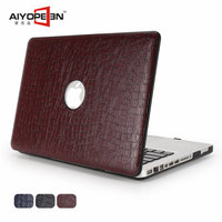 For Macbook Air 13 Case Crocodile Skin Pattern Pu Leather With Hard Plastic Bottom Cover For