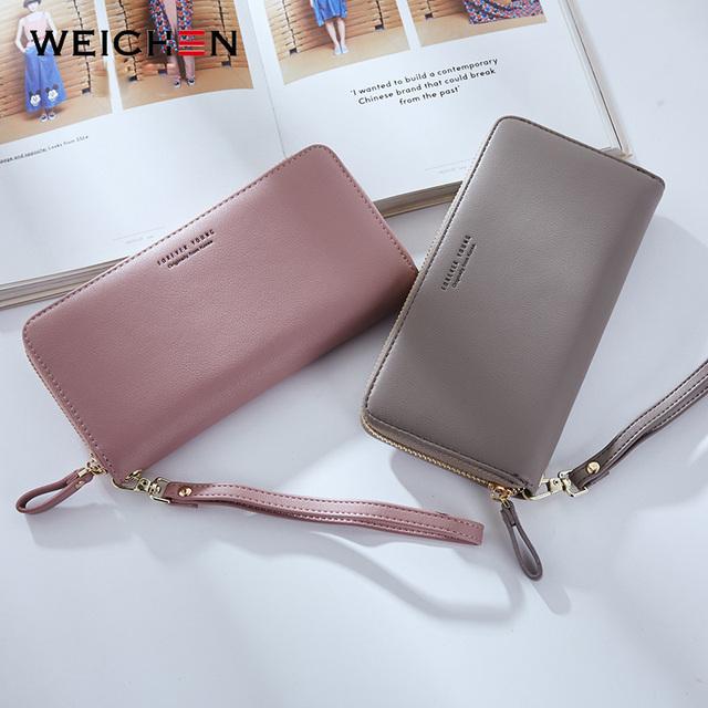 Weichen marca diseñada cartera billetera de mano larga para mujer Carteras de gran capacidad monedero de mujer monederos de monedas para teléfono portatarjetas