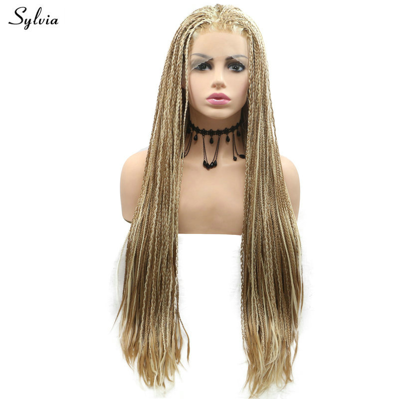 Sylvia Afro America Box Braided Wigs Natural Hairline Medium Blonde/Red Pink Tone Color Long Hair Drag Synthetic Lace Front Wigs