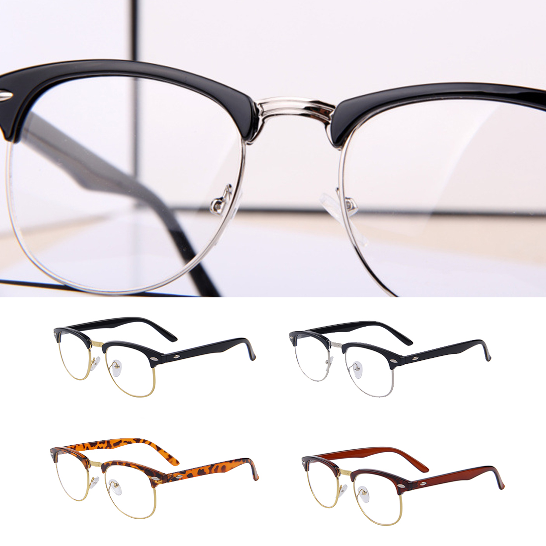 a7f1b6db24 1Pc Classic Retro Clear Lens Men Women Metal Half rimless Glasses Nerd Frames  Optical Eyeglasses Frame