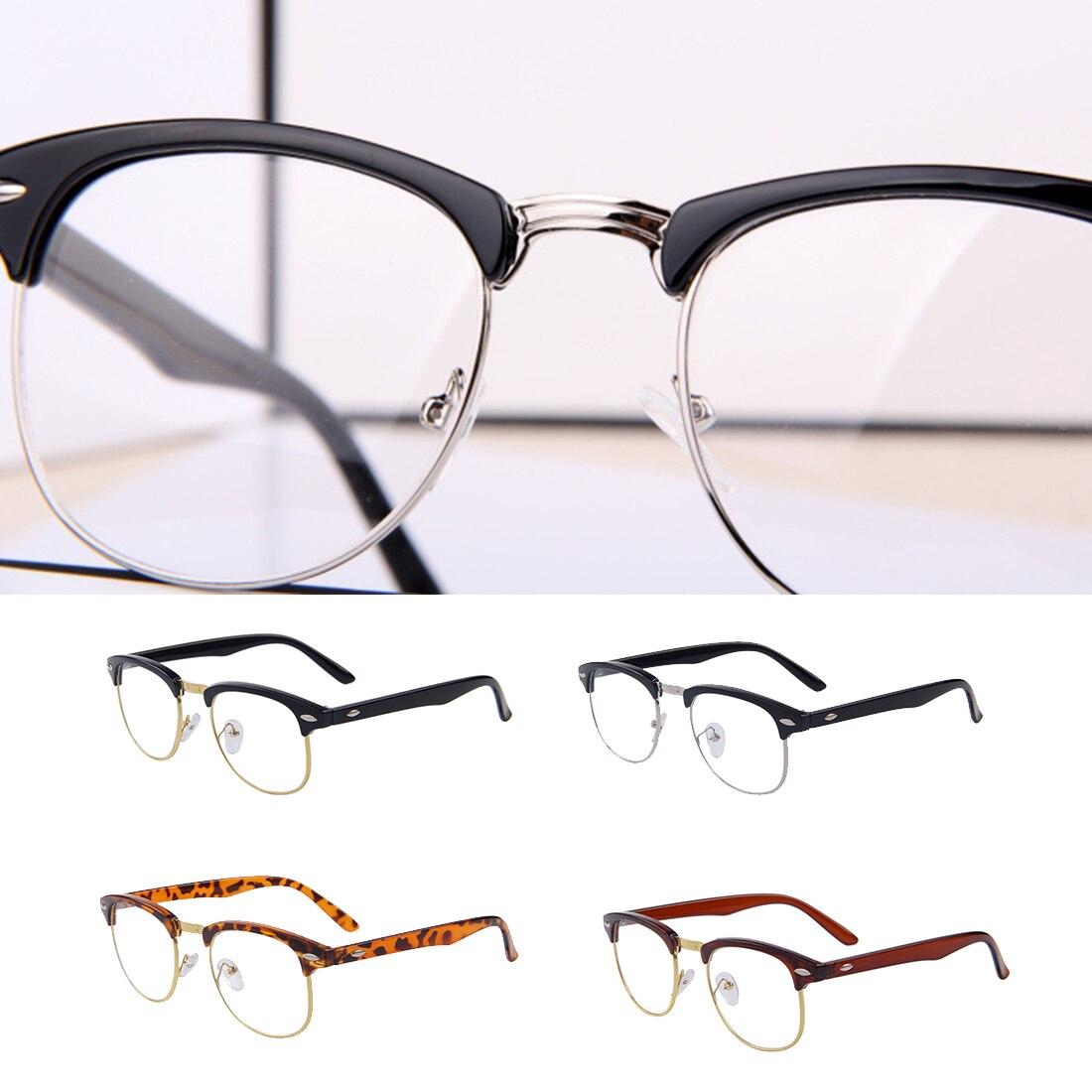 819f4a9cfd 1 Pc clásico Retro lente transparente hombres mujeres Metal medio montura  gafas empollón montura gafas ópticas montura lentes transparentes gafas