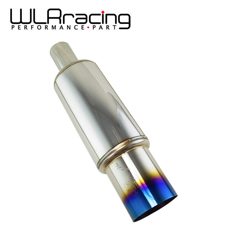 WLRING STORE Inlet 51mm Outlet 89mm Universal Stainless Steel Blue Burnt Tip Car Exhaust Muffler Pipe