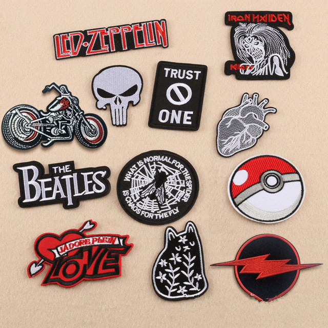 For clothes stickers jeans badges punk patch rock band skull patch biker iron on cheap embroidered
