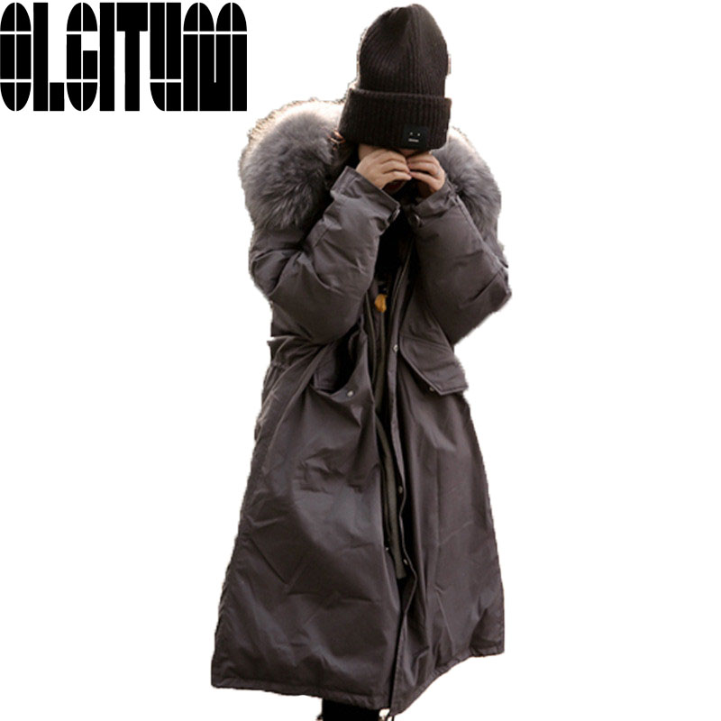 Hot selling 2017 NEW fashion Oversized Down Parka Black Long Coat Military Parka Korean Large Raccoon