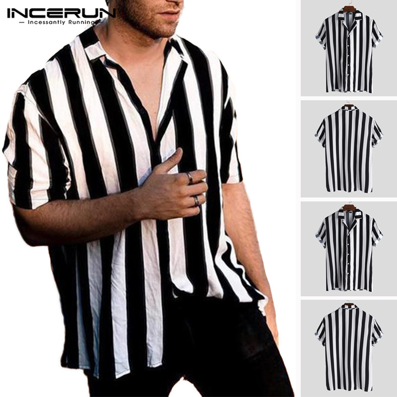 INCERUN 2020 Striped Casual Shirt Men Short Sleeve Button Up Loose Lapel Neck Tops Breathable Brand Shirts Men Streetwear Camisa