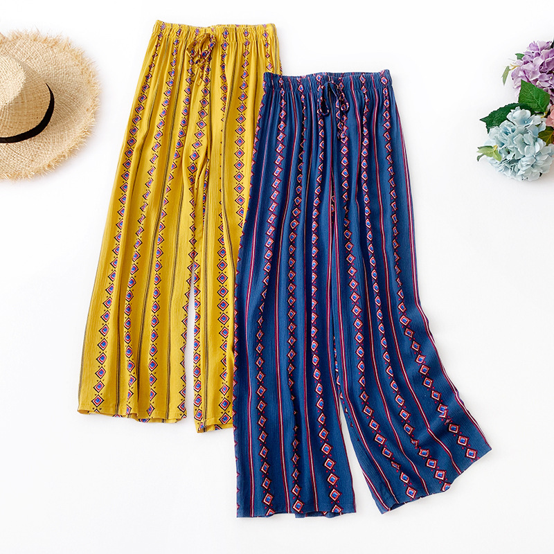 Wasteheart Summer Women Fashion Chiffon Yellow Blue Long Loose Pants Wide Leg Pants High Waist Holiday Beach Female Pants Tie in Pants amp Capris from Women 39 s Clothing