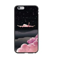 Moon Night Airship Astronaut Stars UFO Hard Phone Case Back Cover For Apple iphone SE 5 5S 6 6S 6Plus 7 7Plus 8 8Plus X 10