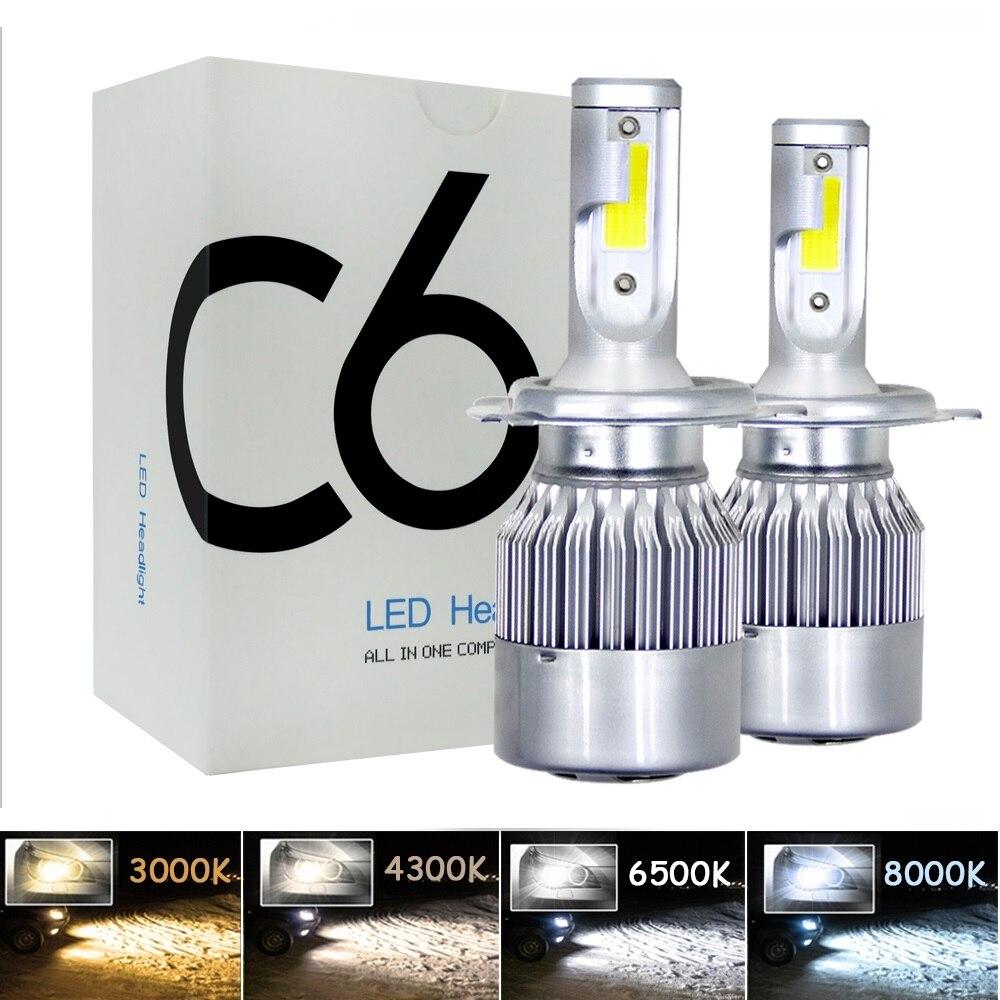 2 pièces H7 LED Turbo H4 Voiture Phare Ampoule COB H11/H8/H9 H1 H3 9005/HB3 9006/HB4 Hir2 H27 8000LM 4300 K 6000 K 12 V 24 V Auto Voiture