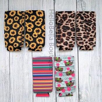 50Pcs Monogrammed Blank Slim Can Case Cheetah Neoprene Can Cooler Cover Cactus And Bull skull Bottle Holder Gift Cover