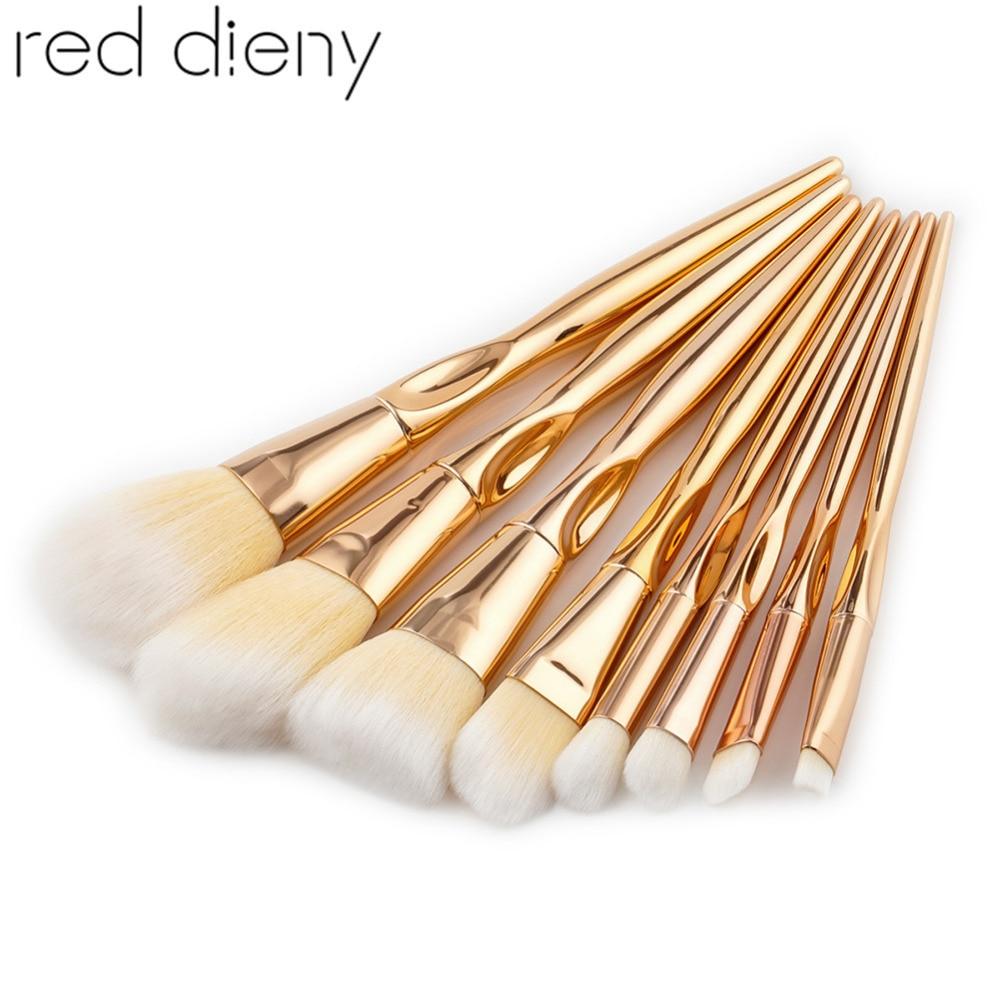 8pcs Rose Gold Makeup Brushes Kit Foundation Powder Eyeshadow Eyebrow Contour Blusher Soft Nylon Hair Cosmetic Brushes Tool Set