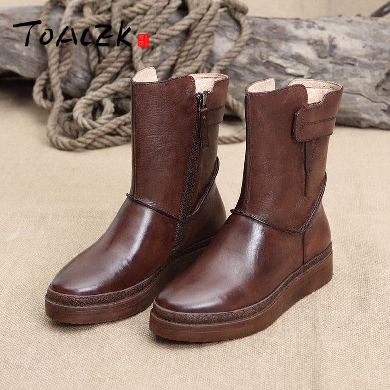 Chaussures pour femmes nouveau original lavé rétro tube chaussures pour femmes britannique vent en cuir rond tête bottes femmes