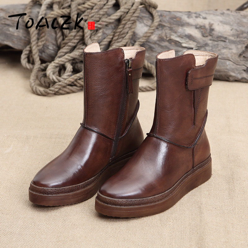 Womens shoes new original washed retro tube womens shoes British wind leather round head boots womenWomens shoes new original washed retro tube womens shoes British wind leather round head boots women