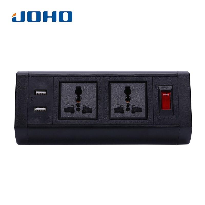 JOHO Prise De Bureau double chargeur usb Commutateur 250 V 10A/16A Universel Deux Prises pour Portable Ordinateurs ordinateur de bureau câble de données