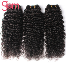 GEM Hair Peruvian Deep Curly Hair Weaving 1Pc 100% Non Remy Human Hair Weave Bundles Natural Color Can Be Dyed Can Match Closure