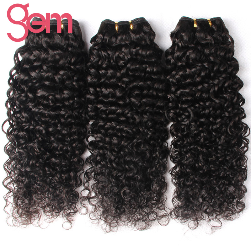 GEM Hair Peruvian Deep Curly Hair 1Pc 100% Human Hair Weave Bundles Natural Color 1b Non Remy Hair Can Be Dyed Can Match Closure