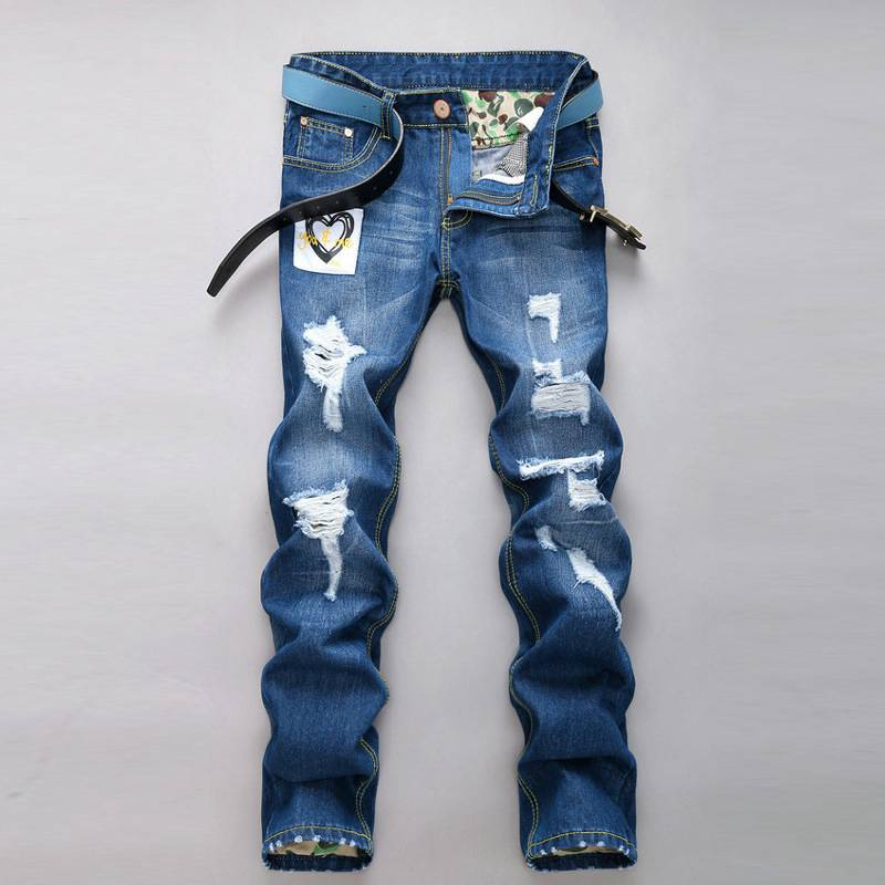 #1518 Korean Men jeans 2017 Straight Joggers Famous brand jeans Skinny Denim biker jeans Punk Mens jogger jeans Motorcycle
